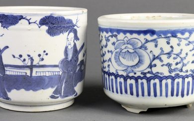 (lot of 2) Two Blue and White Porcelain Pots