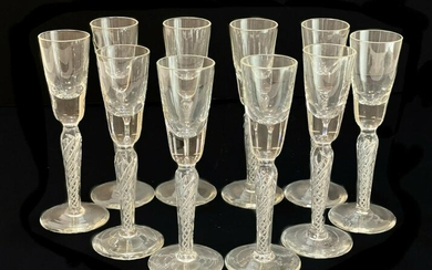 10 Cut Glass Air Twist Stem Cordial Wine Goblets