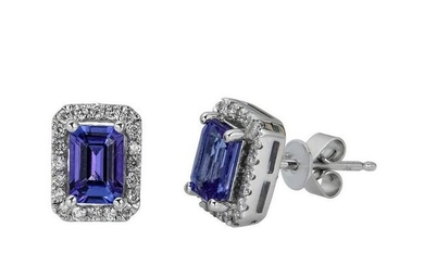 10K White Gold Tanzanite & Diamond Earring