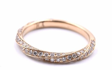 14k Yellow Gold Diamond Twist Band