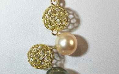 18 kt. Freshwater pearl, Tahitian pearl, Yellow gold - Necklace with pendant