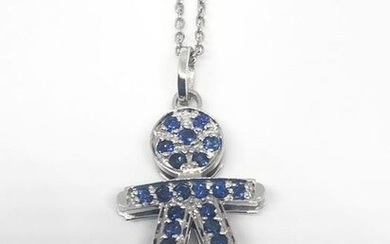 18 kt. White gold - Necklace with pendant - 0.60 ct Sapphire - Sapphires