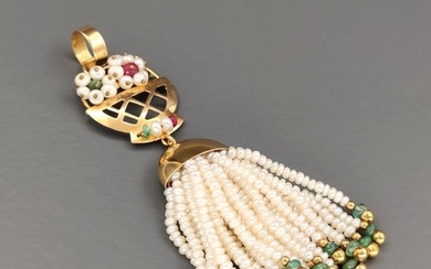 18 kt. Yellow gold - Pendant Perle - Emeralds and Rubies