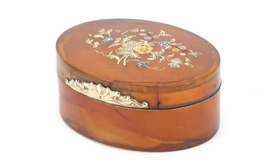 18th century horn and piqué work oval snuff box, the