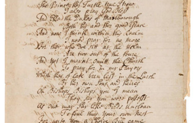 18th century song.- The History & fall of the Conformity Bill being an Excellent new Song to the Tune of the Lady's fall &c., manuscript song, 1705.