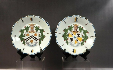18thC French Faience Rouen Style Heraldic Armorial