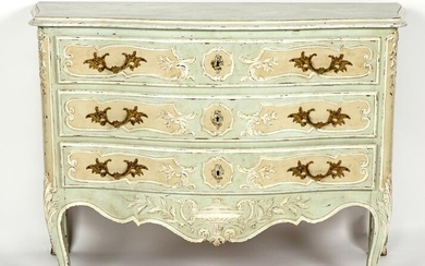19th C. French Paint Decorated Serpentine Commode