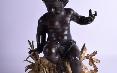19th C. Gilt & Patinated Bronze Figure of a Putti