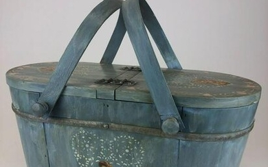 20 th C. French Country Hand Painted Blue Decoupage