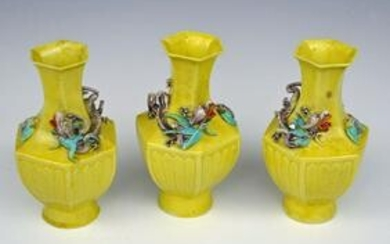 3 Chinese Imperial Yellow, Dragon & Bat Vases