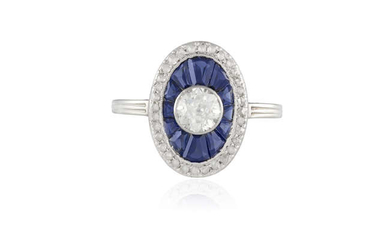 Description AN EARLY 20TH CENTURY SAPPHIRE AND DIAMOND TARGET...