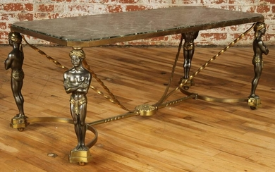FRENCH BRONZE COFFEE TABLE FIGURAL CIRCA 1950