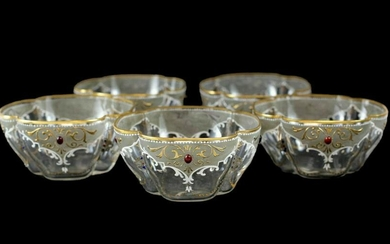 5 Continental Enamel & Jeweled Glass Bowls Moser Style