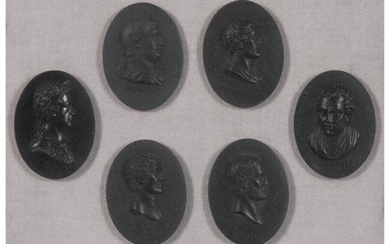 61047: A Group of Six Framed Wedgwood Basalt Miniature