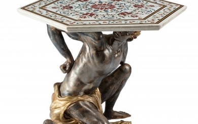 61047: An Italian Carved Partial Gilt Wood Figural Tabl