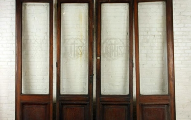 FOUR PANEL WALNUT ENTRY PAIR SIDELIGHTS & DOORS