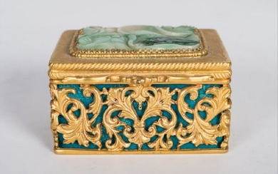 .800 Gilt Silver & Jade Box