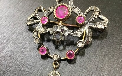 925 Pink gold, Silver - Brooch Ruby - Diamonds