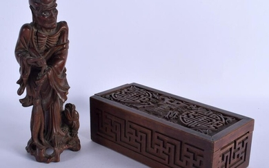 A 19TH CENTURY CHINESE CARVED HARDWOOD FIGURE OF AN
