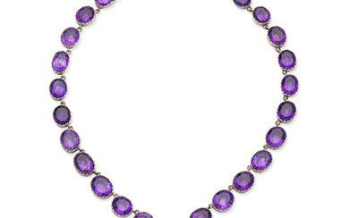 A 19th century amethyst rivière and cruciform pendant