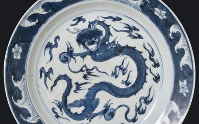 A BLUE AND WHITE CHARGER DECORATED WITH DRAGON PURSUYING THE FLAMING PEARL - Porcelain - China - Kangxi (1662-1722)