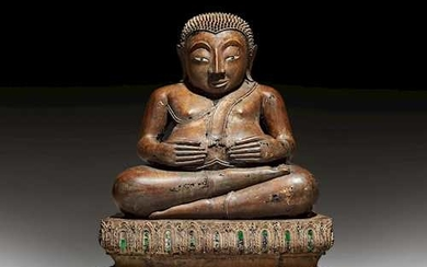 A BRONZE FIGURE OF THE SEATED PHRA SANGKACHAI.