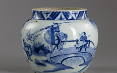 A CHINESE BLUE AND WHITE JAR, QING DYNASTY (1644-1911)