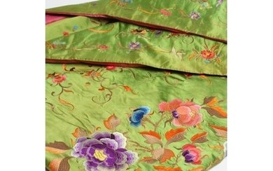 A CHINESE BRIGHT GREEN SILK LARGE OBLONG PANEL embroidered i...