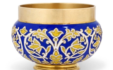 A CLOISONNÉ ENAMEL SILVER-GILT BOWL, MARKED FABERGÉ, WITH THE WORKMASTER'S MARK OF MICHAEL PERCHIN, ST PETERSBURG, CIRCA 1890, SCRATCHED INVENTORY NUMBER 57994