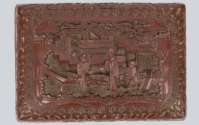 A Carved Chinese Cinnabar Lacquer Casket.