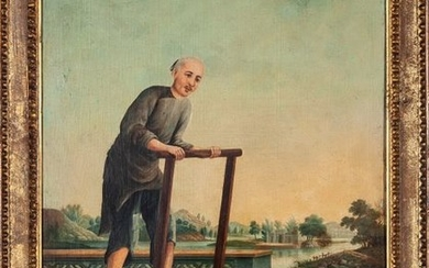 """A Chinese export painting """"Farmer"""" Early 19th Century..."""