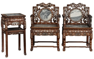 A Chinese rosewood furniture set, with inlaid marble...