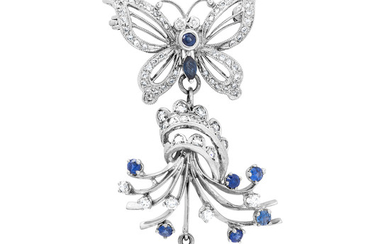 A Cultured Pearl, Sapphire, Diamond and White Gold Brooch/Pendant