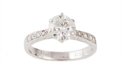 A DIAMOND SOLITAIRE RING, estimated weight of diamond 1.46 c...