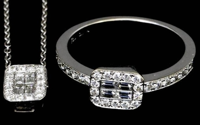 A Diamond Cluster Ring and Matching Pendant, Modern, both...