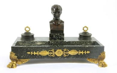 A French Empire-style marble and ormolu desk stand
