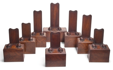 A GROUP OF EIGHT WILLIAM IV MAHOGANY PLATE STANDS, CIRCA 1830, IN THE MANNER OF GILLOWS