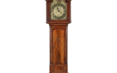 A George III mahogany longcase clock. Movement with seconds and date. Brass dial signed John Fair, Chermside (?). England, late 18th century. H. 204 cm.