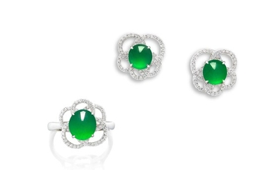 A Jadeite Cabochon and Diamond Demi-parure