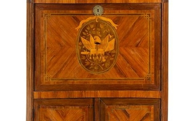 A Louis XVI Style Marquetry Marble-Top Secretaire a
