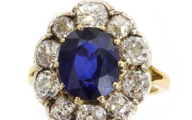 A Madagascan sapphire and diamond cluster ring