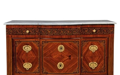 A NORTH ITALIAN STAINED FRUITWOOD AND ROSEWOOD PARQUETRY TULIPWOOD COMMODE, ATTRIBUTED TO GIUSEPPE VIGLIONE, TURIN, LATE 18TH CENTURY