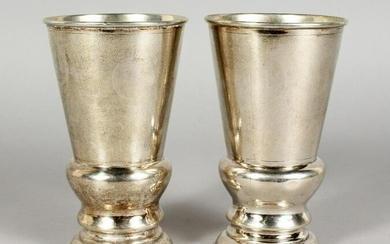 A PAIR OF CHINESE SILVER GOBLETS, stamped sterling C.