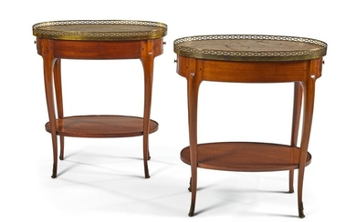 A PAIR OF FRENCH GILT-BRONZE MOUNTED BOIS SATINÉ OCCASIONAL TABLES 19TH CENTURY