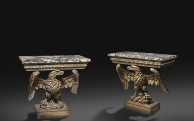A PAIR OF GEORGE II AND LATER CARVED...