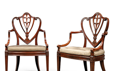A PAIR OF GEORGE III MAHOGANY 'HARVEY' OPEN ARMCHAIRS