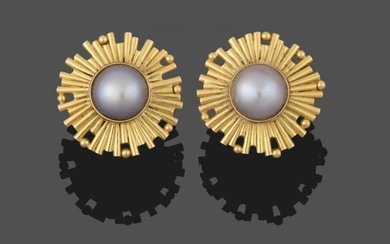 A Pair of 18 Carat Gold Mabe Pearl Earrings, the...