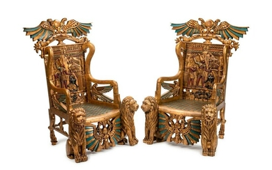 A Pair of Egyptian Revival Style Parcel-Gilt and
