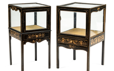 A Pair of Stenciled Black Painted Vitrine Cabinets