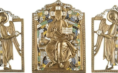 A RARE SET OF THREE BRASS ICONS FORMING A DEISIS